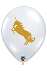 "12 Gold Unicorn Print 11"" Latex Balloons Qualatex Fantasy Magical Princess Party"