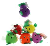 6 Assorted Plush Fruit & Vegetable Dog Toys W / Squeaker Soft Pet Fun PK1411