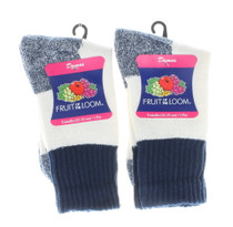 Ladies Boot Socks White w/ Blue Size 9-11 Fruit of the Loom 2 Pairs
