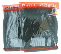 """Lot of 2 Black Table Skirt 29"""" x 14' Plastic Table Skirt Party Decoration Cover"""