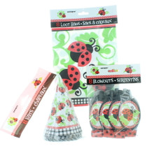 8 Kid Ladybug Party Favor Kit Hats Blowouts Loot Bags Birthday Ladybug Fun Set