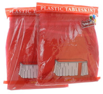 """Lot of 2 Red Table Skirts 29"""" x 14' Plastic Table Skirt Party Decoration Cover"""