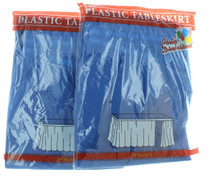 """Lot of 2 Blue Table Skirts 29"""" x 14' Plastic Table Skirt Party Decoration Cover"""
