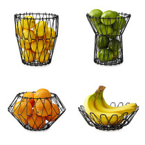 Fruit Basket Bowl Metal Kitchen Folding Storage Accessory Five Functional Shapes
