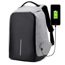 Gray Anti-Theft Laptop Backpack USB Charging Port Nylon Waterproof Travel Bag