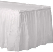"White Plastic Party Table Skirt Adhesive Backing 29"" x 21.5' Disposable Creative Converting"