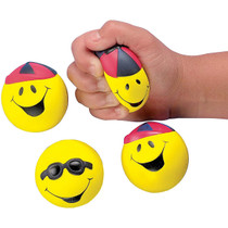Lot of 12 Smile Face Stress Squeeze Balls Smiley Party