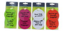 Set of 8 Protege Humorous Luggage Tags Round Suitcase ID White Orange Green Pink