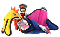 Set of 4 Dogzilla Invaders Dog Toys Tough Plush Pet Squeakers Reinforced Seams