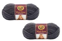 Charcoal Gray Yarn Knitting Craft Machine Washable Lion Brand 2 Skeins VLB
