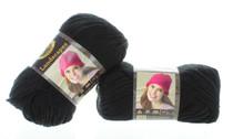 2 Skeins Lion Brand Black Yarn Craft Knitting Machine Washable VLB