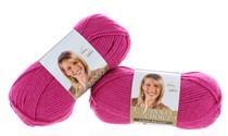 2 Skeins Lion Brand Raspberry Yarn Craft Knitting Machine Washable VLB