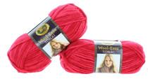 Vermilion Red Yarn Knitting Craft Machine Washable Lion Brand 2 Skeins VLB