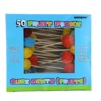 "50 Fruit Appetizer Toothpicks 4"" Snack Cocktail Luau Party Assorted"