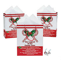 Lot of 12 Candy Cane Medium Size Christmas Gift Bags Party Favors