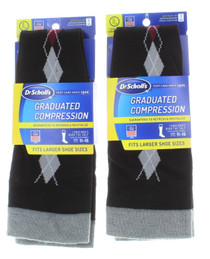 2  Dr. Scholl's Men Graduated Compression Socks Over Calf Black Argyle Sz 11-15