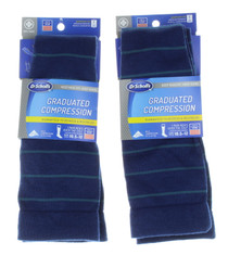 2  Dr. Scholl's Men Graduated Compression Socks Over Calf Blue Stripe Sz 10.5-12