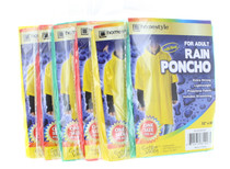 6 Emergency Rain Ponchos with Hood For Adults Assorted Colors Waterproof Clear Valley