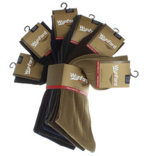 6 Pairs Wynford Mens Dress Crew Socks Size 10-13 Assorted Colors