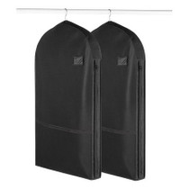 Set of 2 Living Solutions Garment Bag Zip Black With Pocket Travel Protector