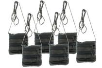 Lot of 6 Black Italian Lamb Skin Travel Wallet Zippered With String Lanyard