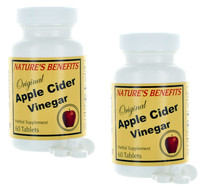 Lot of 2 Apple Cider Vinegar Herbal Supplement 120 Tablets Nature's Benefits