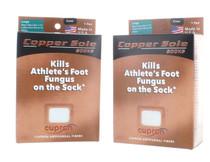 2 Pairs Copper Sole White Crew Socks Large
