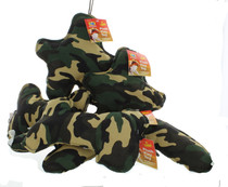 Lot of 6 Assorted Soft Plush Camo Design Dog Toys With Squeaker