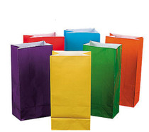 Lot of 24 Multi Color Paper Party Bags 6 Assorted Colors Treat Favor Sacs