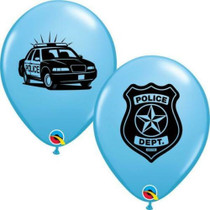 """Lot of 12 Printed Blue Police Dept. 11"""" Latex Balloons Design"""