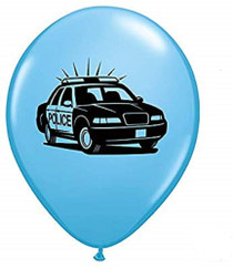 "Lot of 12 Printed Blue Police Dept. 11"" Latex Balloons Design"