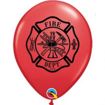 """Lot of 12 Printed Red Fire Dept. 11"""" Latex Balloons Design"""