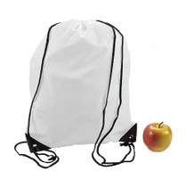 "Lot of 12 Large Nylon Drawstring Backpacks White 14 1/2"" x 18"""