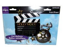 "XL 30"" Hollywood Clapper and Film Reel Super Shape Mylar Foil Balloon Party"
