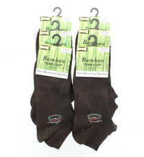 Womens Brown Bamboo Socks No Show Anti-Bacterial Tuff-Stuff 6 Pairs Size 9-11