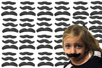 Lot of 72 Hairy Self-adhesive Mustaches Costume Disguise Stash Bash