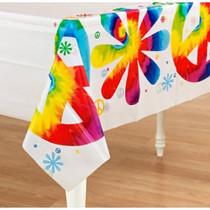 "Lot of 2 Tye Dye Printed Plastic Rectangle Table Cover 54"" x 108"""