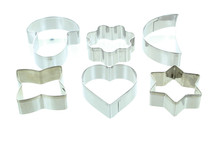 Metal Cookie Cutters Assorted Shapes Heart Star Moon Oven Baking Tools Lot of 24