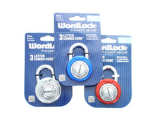 Wordlock 3 Letter Combination Lock Code Steel Standard Size Padlock Set of 3