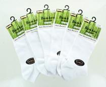 6 Pairs White Bamboo No Show Mens Socks Anti Bacterial Tuff-Stuff Sz 10-13