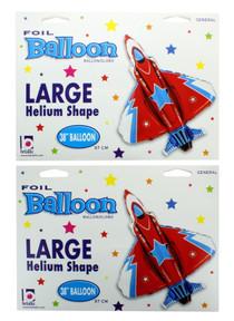 "XL 38"" Fighter Jet Super Shape Mylar Foil Balloon Party Decoration Lot of 2"