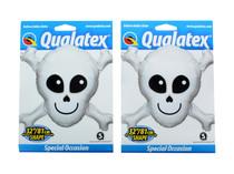 "XL 32"" Qualatex Happy Skull Super Shape Mylar Foil Balloon Decoration Lot of 2"