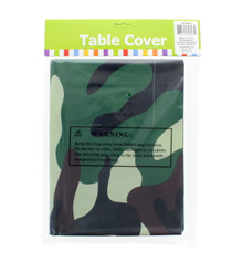 "Camo Plastic Table Cover Military Army Hunting Party 54"" x 108"" Lot of 2"