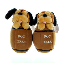Paw Paw Lot of 2 Dog in Beer Barrel Plush Dog Toy With Squeaker