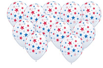 "24 Patriotic Stars Print 11"" Latex Balloons White w/ Blue & Red Design Qualatex"