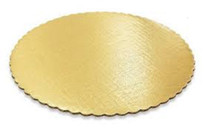 "Lot of 6 Round Gold Cardboard Cake Boards 14"" Lightweight Pastry Treat Trays"