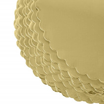 "Lot of 12 Round Gold Cardboard Cake Boards 10"" Lightweight Pastry Treat Trays"