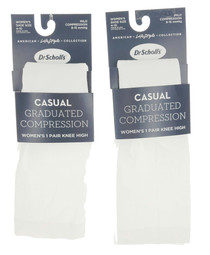 2 Pair Women's Dr. Scholl's Graduated Compression Socks White SIze 4-10