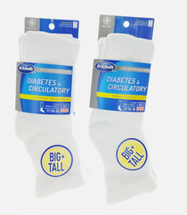4 Prs Dr. Scholl's Diabetes & Circulatory Big & Tall White Ankle Socks Sz 13-15