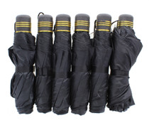 Lot of 6 Mini Black Purse Umbrellas Collapsing With Nylon Carry Handle